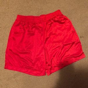 Red jersey b-ball shorts